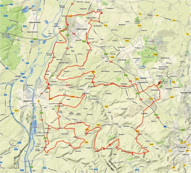 UCI Toertocht Route