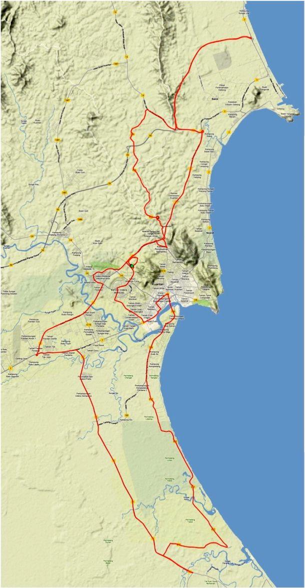 Kuantan Century 2013 Route
