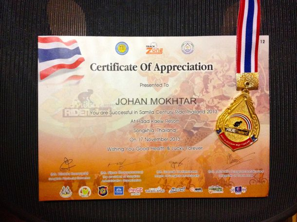 Samila Century 2013 Certificate and Medal