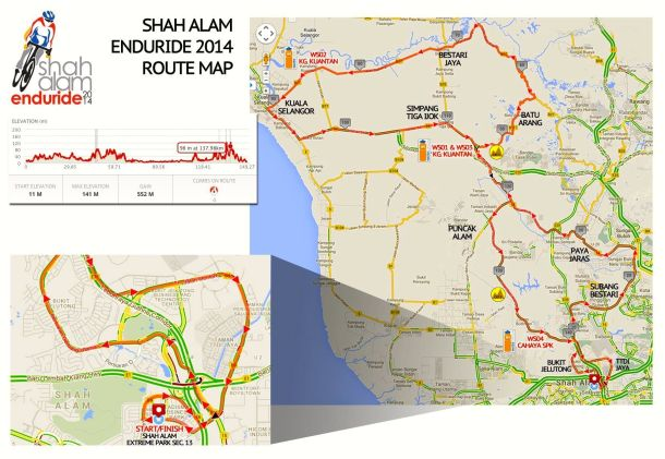 Shah Alam Enduride 2014 Route