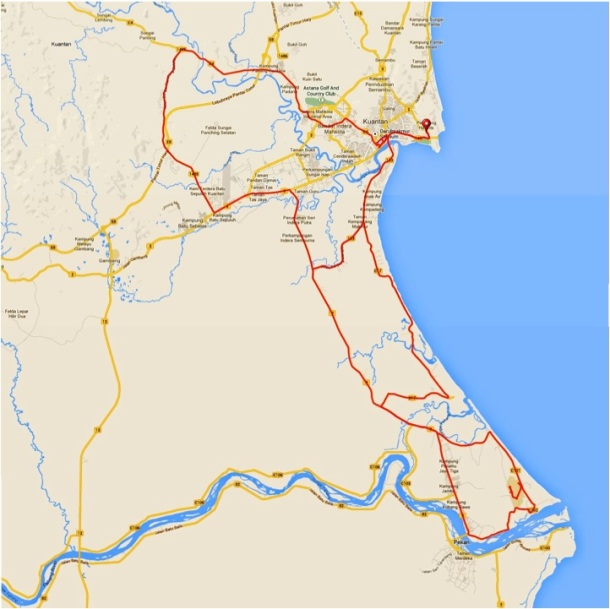 Kuantan Century Ride 2014 Route