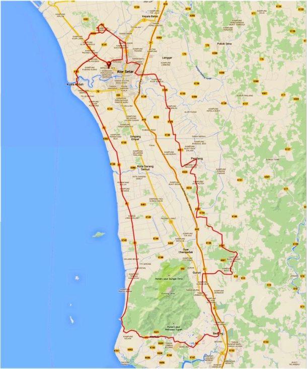 Kedah Century Ride 2015 Route