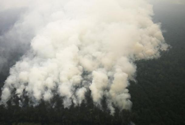 An aerial view of smoke rising from a burning forest at Ogan Komering Ulu area in Indonesia's south Sumatra province