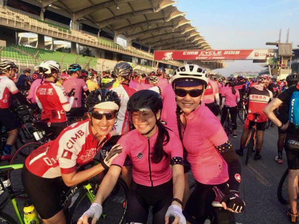 CIMB Challenge Ride 2018 Guadalupe and Annie and Luanne Annie Lim